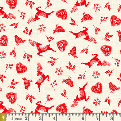 Scandi 2020 -  Icon Scatter - Red - by Makower UK - Fabric by the Yard