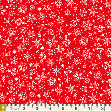 Scandi 2020 -  Snowflakes - Red - by Makower UK - Fabric by the Yard