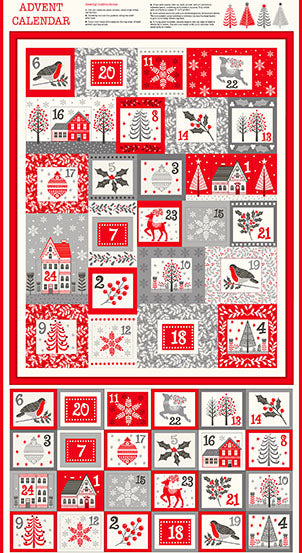 Scandi 2020 -  Advent Calendar - by Makower UK - Fabric Panel