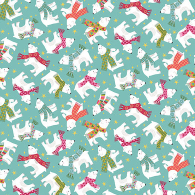 Let It Snow Polar Bears  - Fabric by the Yard
