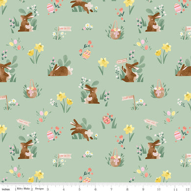 Mint Easter Egg Hunt Main - Fabric by the Yard