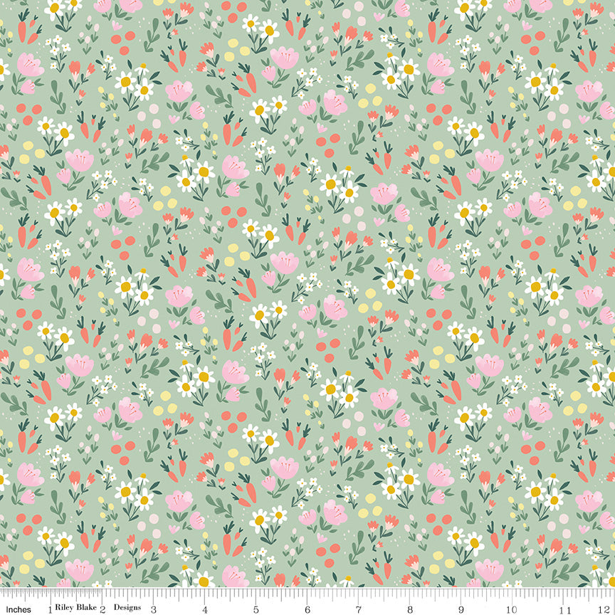 Mint Easter Egg Hunt Floral - Fabric by the Yard