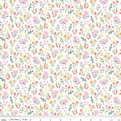 White Easter Egg Hunt Floral - Fabric by the Yard