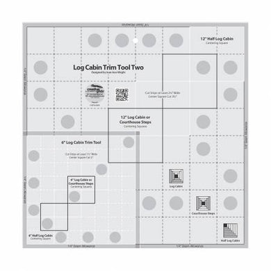 Creative Grids - Log Cabin Trim Tool Two 6in & 12in Blocks Quilt Ruler