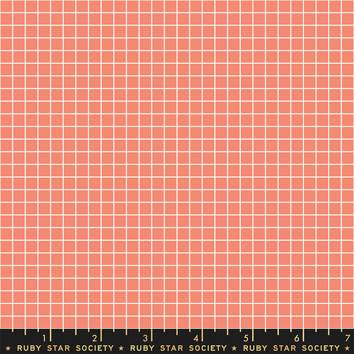 Grid Papaya RS3005 36 - Fabric by the Yard