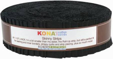 Skinny Strips Kona Solids Black Colorway 40pcs 1 1/2in