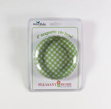 Load image into Gallery viewer, Green Gingham Magnetic Pin Bowl