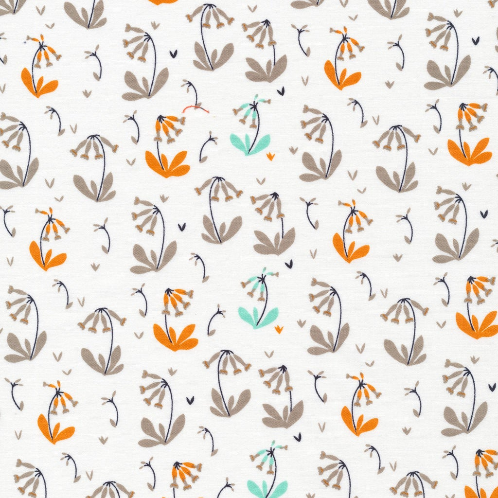 Foxglove Collection - Cloud 9 Organic Cotton -Cowslips Grey - Fabric by the Yard