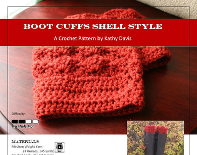Crochet Pattern-Boot Cuff- Shell Style - Digital Download