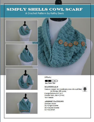 Crochet Pattern-Shell Style Cowl Scarf - Digital Download