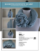 Load image into Gallery viewer, Crochet Pattern-Rosette Infinity Scarf - Digital Download