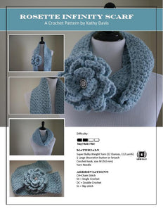 Crochet Pattern-Rosette Infinity Scarf - Digital Download