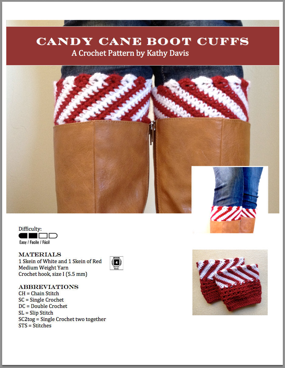 Crochet Pattern-Candy Cane Boot Cuffs - Digital Download