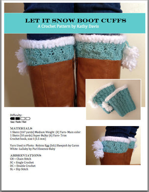 Crochet Pattern-Let it Snow Boot Cuffs - Digital Download
