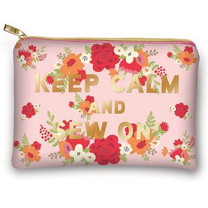 Keep Calm and Sew On - Zippered Pouch