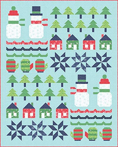 Snowman Sampler Quilt kit featuring Snow Day Fabric from Moda
