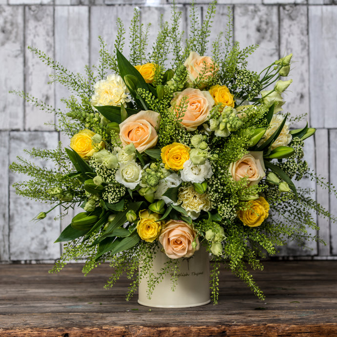 Lemon and Peach Hand Tied Bouquet