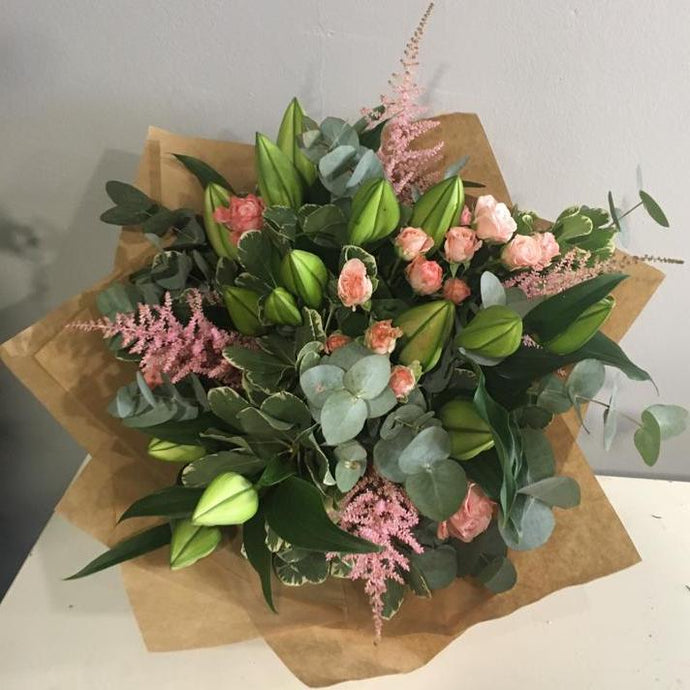 Pink Lilies & Rose Bouquet