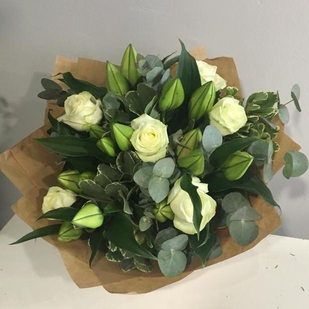Classic White Lilies & Roses