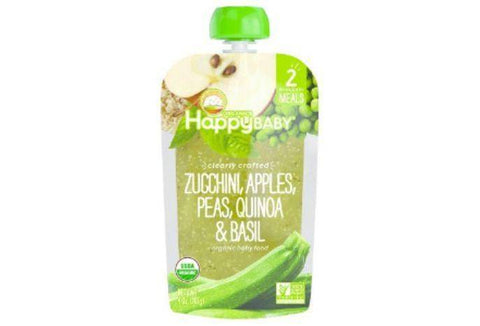 Happy Baby Organics Baby Food, Organic, Zucchini, Apples, Peas, Quinoa & Basil, 2 (6+ Months) - 4 Ounces