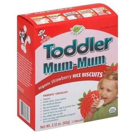 Hot Kid Toddler Mum-Mum Rice Biscuits, Organic, Strawberry, 2 Years + - 24 Each
