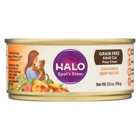 Halo Purely For Pets Spot's Stew Grain Free for Cats Wholesome Chicken and Beef Recipe - 5.5 Ounces