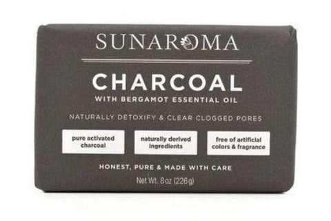 Sunaroma Charcoal with Bergamot Essential Oil Bar Soap - 8 Ounces