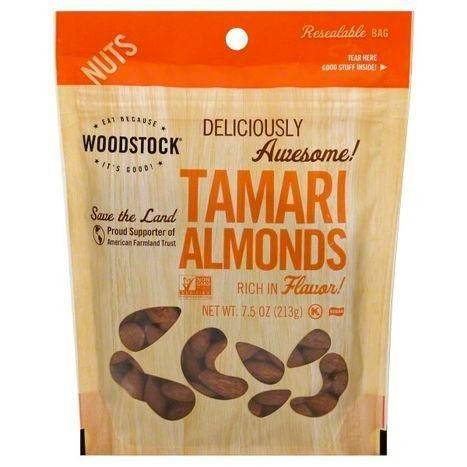 Woodstock Almonds, Tamari - 7.5 Ounces