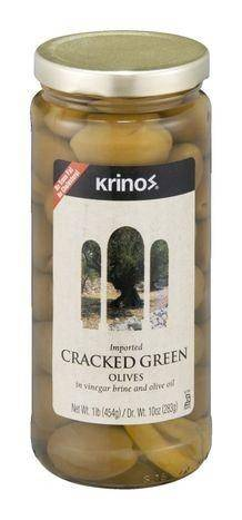 Krinos Olives, Cracked Green, in Vinegar Brine and Olive Oil - 1 Pound