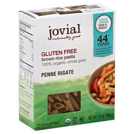 Jovial Penne Rigate, Brown Rice, Gluten Free, 100% Organic Whole Grain - 12 Ounces