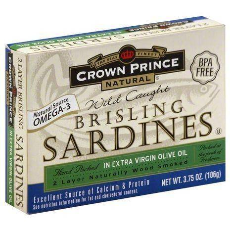 Crown Prince Natural Sardines, Brisling, in Extra Virgin Olive Oil - 3.75 Ounces