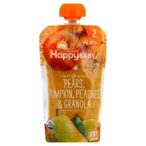 Happy Baby Organics Baby Food, Organic, Pears, Pumpkin, Peaches & Granola, 2 (6+ Months) - 4 Ounces