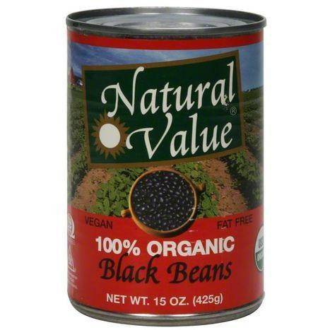 Natural Value Black Beans, 100% Organic - 15 Ounces