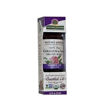 Natures Answer 100% Pure Organic Essential Liquid Oil, Geranium and Sage - 0.5 Fluid Ounces