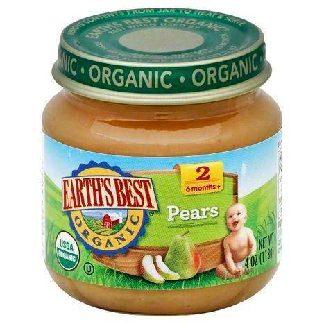 Earths Best Organic Pears, 2 (6 Months+) - 4 Ounces