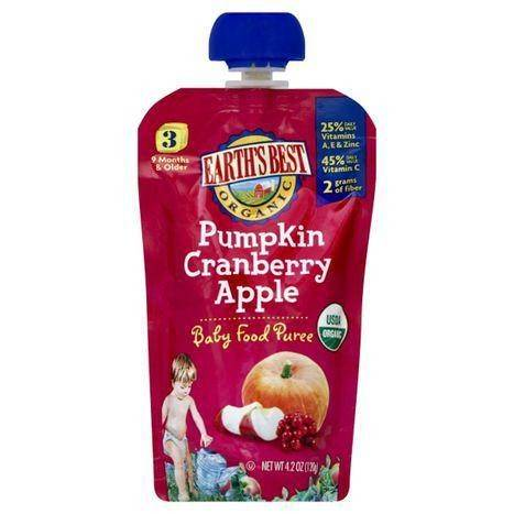 Earths Best Organic Baby Food Puree, Pumpkin Cranberry Apple, 3 (9 Months & Older) - 4.2 Ounces