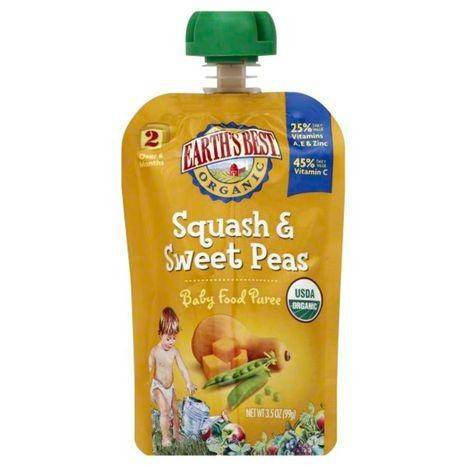 Earths Best Organic Baby Food Puree, Squash & Sweet Peas, 2 (Over 6 Months) - 3.5 Ounces