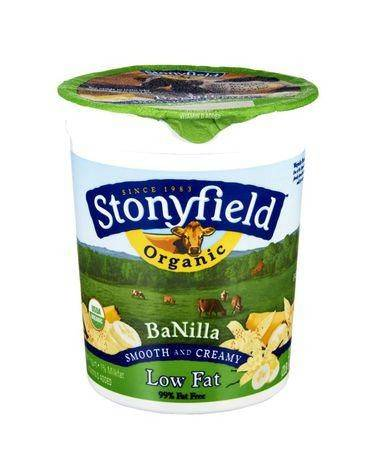 Stonyfield Farm Organic Yogurt, Lowfat, Banilla - 32 Ounces