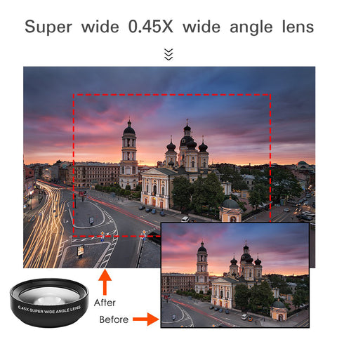 Universal Mobile Phone Lens For iPhone & Android (0.45X Wide Angle Lens & 12.5X Macro HD Camera Lens)