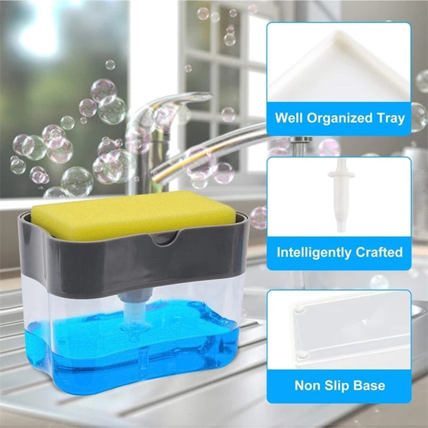 2-in-1 Double Layer Kitchen Plastic Sponge Holder Box With Soap Dispenser