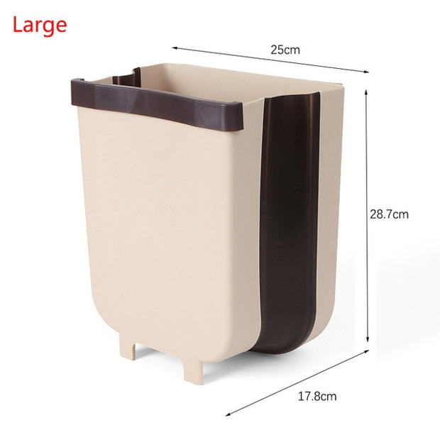 9L Foldable Wall Mounted Kitchen Cabinet Garbage Waste Bin