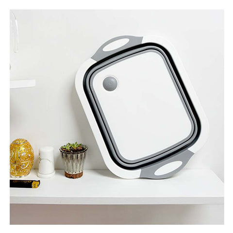 Foldable Kitchen Chopping Block With  Washing Drain Basket & Dish Tube