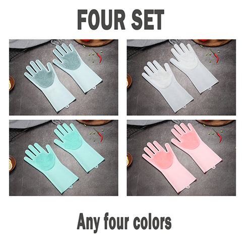 Magic Silicone Dish Washing Gloves For Kitchen Household Use