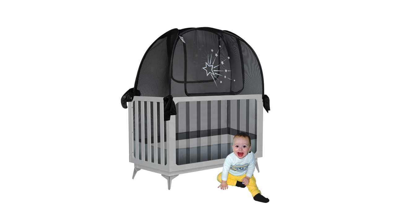 popup black baby crib safety net tent to keep baby and toddler from climbing out of the crib