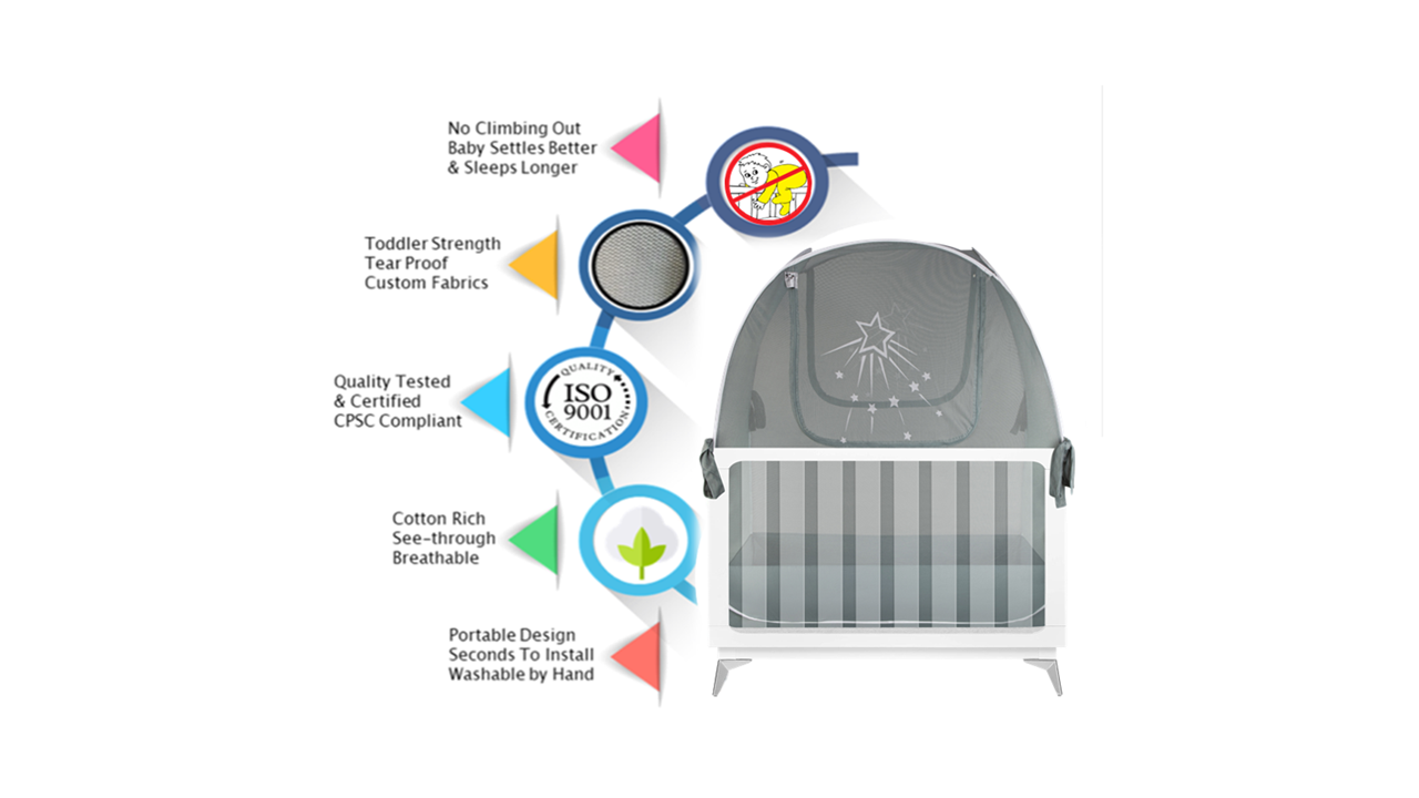 popup baby crib safety net tent to keep baby and toddler from climbing out of the crib
