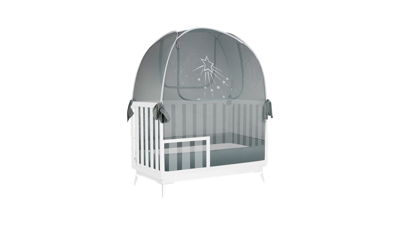popup baby crib safety net tent to keep baby and toddler from climbing out of the bed