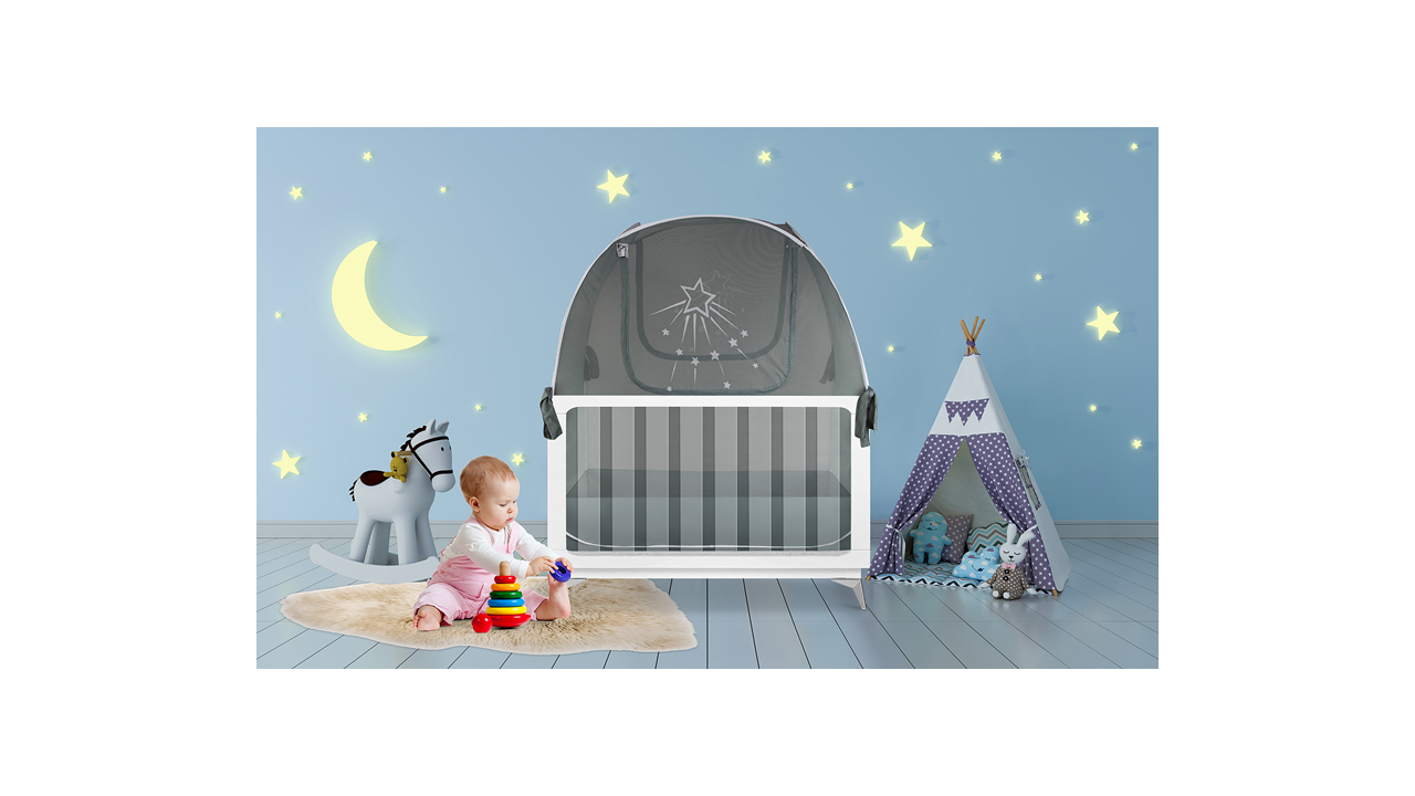 popup girl baby crib safety net tent to keep baby and toddler from climbing out of the crib
