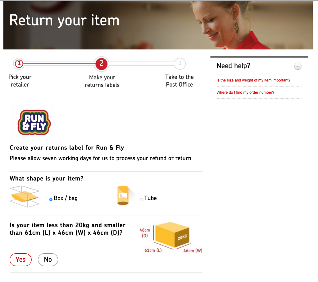 Royal Mail FREE RETURN