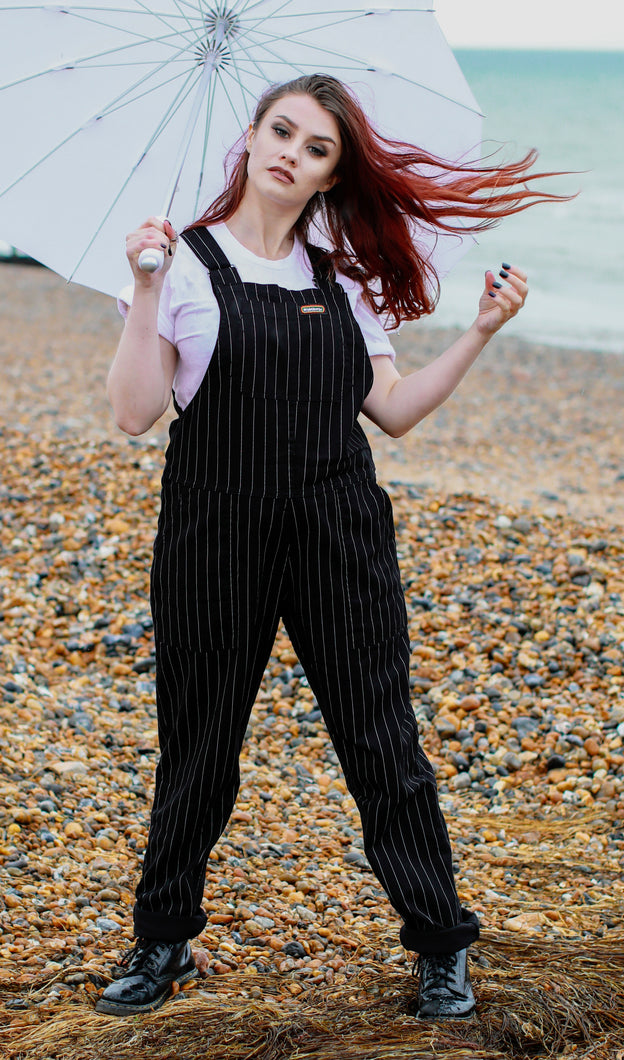 Black & White Pin Stripe Dungarees