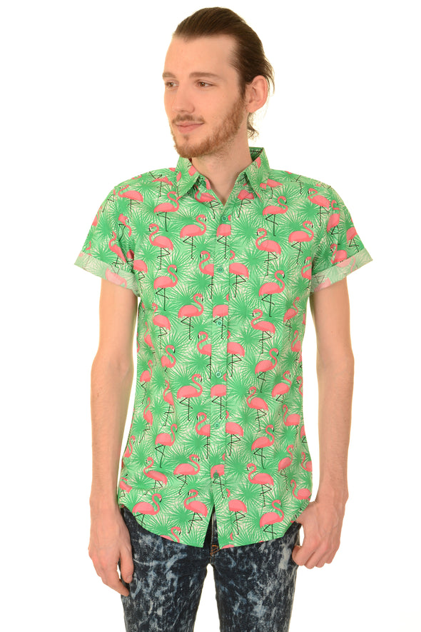Flamingo Burst Short Sleeve Shirt